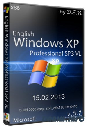 English Windows XP Professional SP3 VL with updates on 15.02.2013